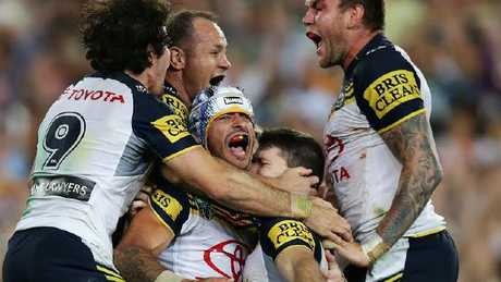 Grand final heroes Jake Granville, Matt Scott, Johnathan Thurston, Lachlan Coote and Kyle Feldt all remain key members of the Cowboys squad. Photo: Brett Costello