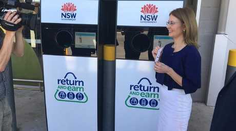 NSW Environment Minister Gabrielle Upton at one of the return and earn deposit vending machines. Picture: Supplied