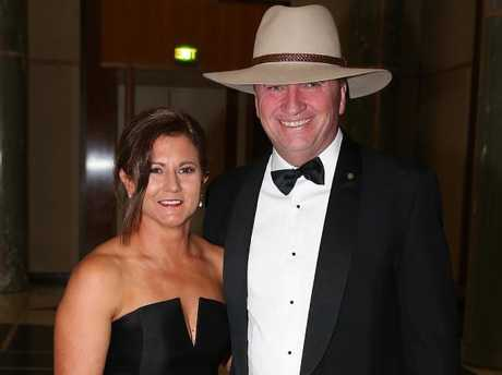 Barnaby Joyce and his wife Natalie arriving at the Federal Parliament Midwinter Ball 2017, at Parliament House in Canberra. Picture Ray Strange