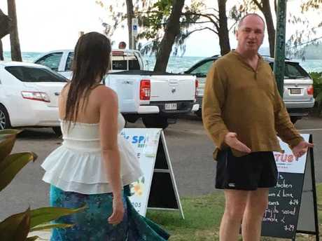 Deputy Prime Minister Barnaby Joyce and partner Vikki Campion at Palm Cove, Queensland in December. Picture: Supplied