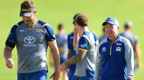 Veteran Cowboys back-rower Gavin Cooper and coach Paul Green. Photo: Evan Morgan
