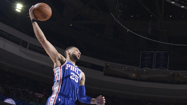 Ben Simmons grabs a rebound against the New York Knicks (Photo by Jesse D. Garrabrant/NBAE via Getty Images)