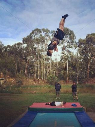 Matt Graham training on the trampoline.