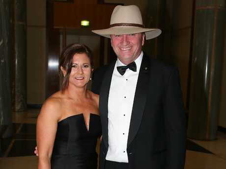 Barnaby Joyce and his wife Natalie attend the 2017 Midwinter Ball at Parliament House in Canberra. Picture: Ray Strange