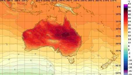 Thursday will continue to see heatwave conditions across much of Queensland and northern NSW. Picture: Bureau of Meteorology