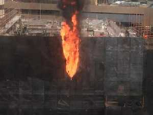 Building site erupts into flames