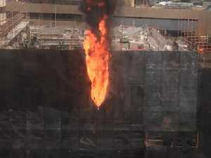 Building site erupts into flames at Circular Quay
