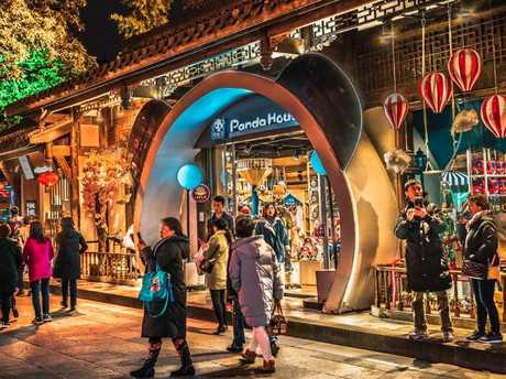 Panda House souvenir shop with giant panda head shape door in Jinli ancient Town. Picture: iStock.