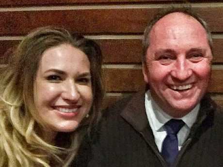 Deputy Prime Minister Barnaby Joyce with his girlfriend and former staffer, Vikki Campion, pose for a photo together. Picture: Supplied