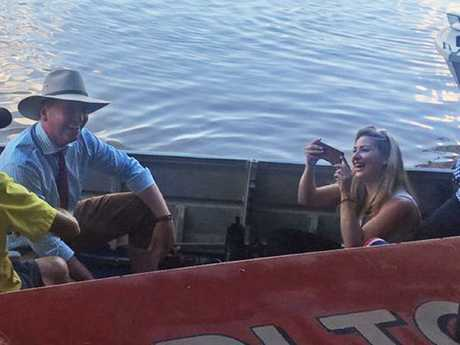 Deputy Prime Minister Barnaby Joyce and Vikki Campion pictured together in April 2017. Picture: Storyful
