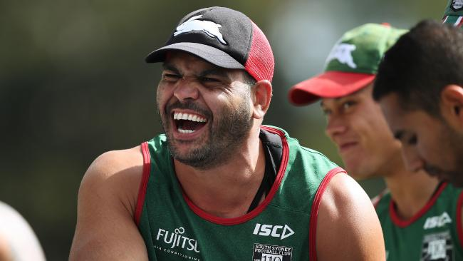 The return of Greg Inglis to training is enough to put a smile on any Rabbitohs fan: Photo: Brett Costello