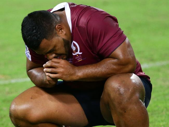 Taniela Tupou after a loss last year. Picture: Darren England.