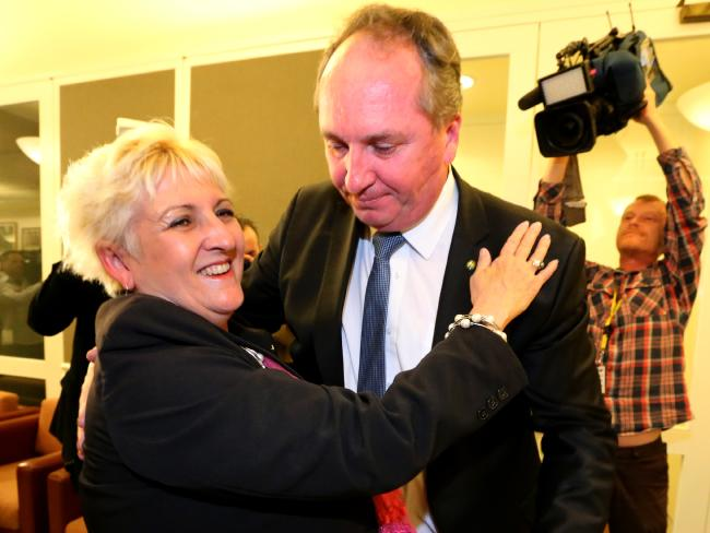 Barnaby Joyce congratulates Michelle Landry on winning the seat of Capricornia.