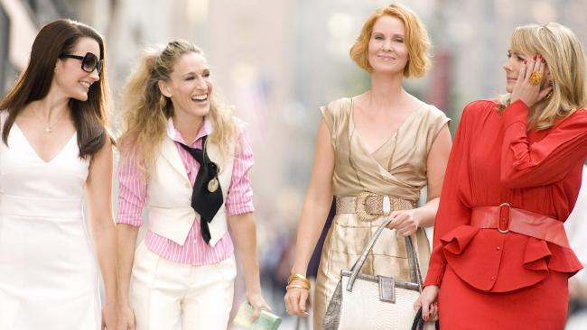 All smiles: (L-R) Kirstin Davis, Sarah Jessica Parker, Cynthia Nixon and Kim Cattrall in the first Sex And The City movie.
