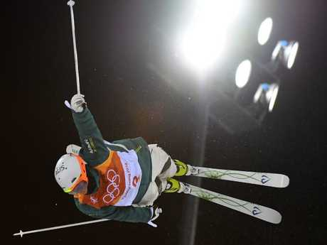 Graham on his way to place second of the men's moguls final during the Pyeongchang 2018 Winter Olympic Games.
