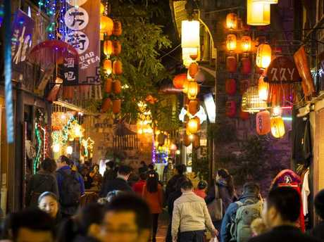 Pedestrian street in the historic district of Jinli, Chengdu, China. Picture: iStock.
