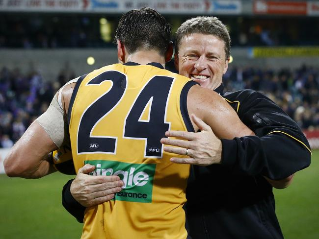 Damien Hardwick with Ben Griffiths. Picture: Wayne Ludbey