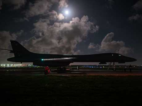 A US Air Force B-1B Lancer , prepares for take off from Guam to conduct a bilateral mission with South Korean F-15 and Koku Jieitai (Japan Air Self-Defense Force) F-2 fighter jets in response to escalatory action by North Korea. Picture: AFP