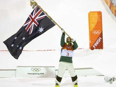 Graham celebrates his silver medal.