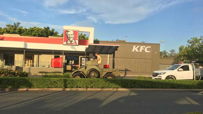 Some guys will do anything for their KFC. PHOTO: Michelle Skelton Fay