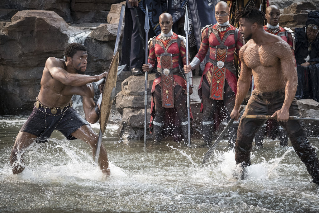 Chadwick Boseman and Michael B Jordan in a scene from the movie Black Panther.