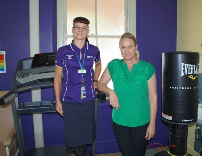 Toowoomba Hospital Heart Care Team clinical nurse Trudie Culleton and Toowoomba Hospital Foundation CEO Alison Kennedy test out the new gym equipment.