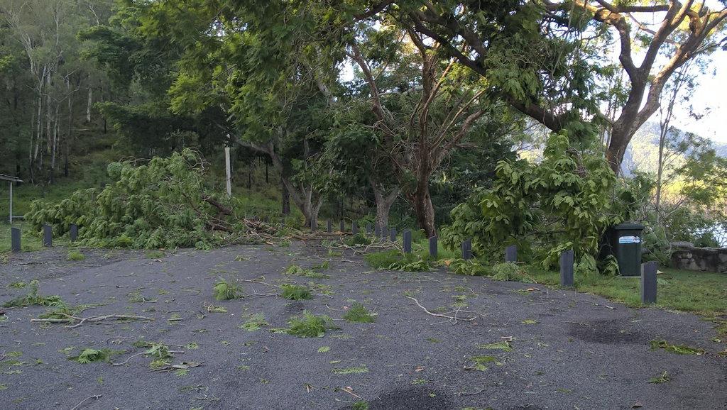 The 'mini tornado' that battered Lake Borumba on Sunday night left a path of destruction.