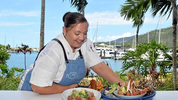 FIVE STAR: Emma Nash with the seafood platter and other delicious dishes.