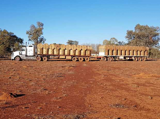 RURAL AID: A shot of their road train full of hay to be delivered to farmers in need.