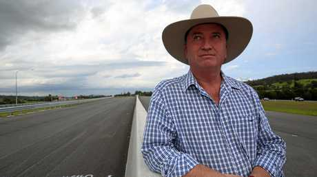 Barnaby Joyce at the end of Section C of the Bruce Hwy upgrade south of Gympie.