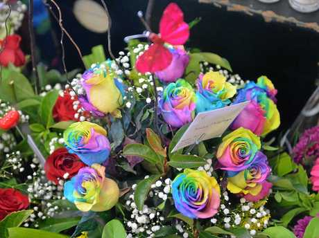 Rainbow roses are a popular choice for Valentine's Day this year.