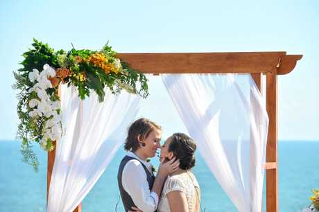 TOGETHER FOREVER: Amy (Chook) and Natalie Carey finally tied the knot today after waiting for years and years for same sex marriage to be legalised in Australia.