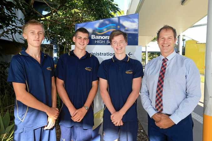 SPIRIT: Banora Point High School students Ari Cummins, Christian Smith, Jack Lee and principal Chris Randle celebrate the success of their Youth Frontiers projects.