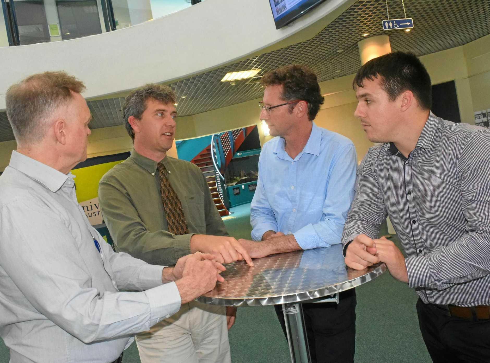 FROM LEFT: Senator Chris Ketter, CQUni Associate Vice-Chancellor Owen Nevin, MP Stephen Jones and AWU organiser Zac Beers in October last year.