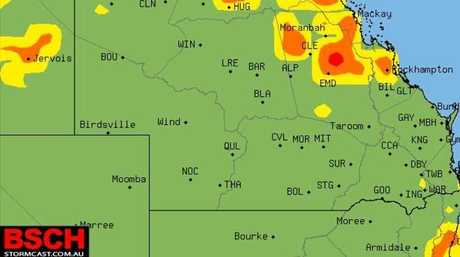 STORMS ARE COMING: This image shows tomorrow's storm forecast. Source: BSCH.