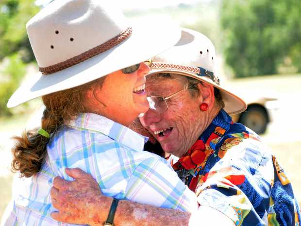 OVERJOYED: Tanya Plant (left) and Aileen Harrison celebrate the decision to refuse an amendment to New Acland Mine's evironmental authority.