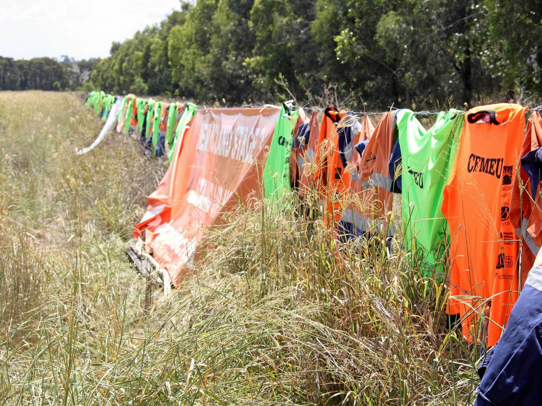 Workers leave their high-vis shirts at the site of the New Acland Mine.
