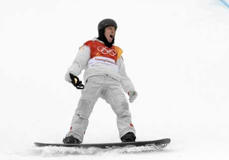 Shaun White reacts after completing his final run in the men's halfpipe finals.