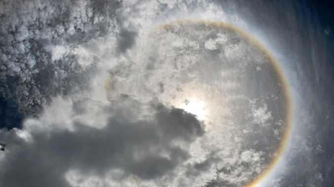 Rainbow ring around sun taken at 11amPhoto Tony Martin / Daily Mercury
