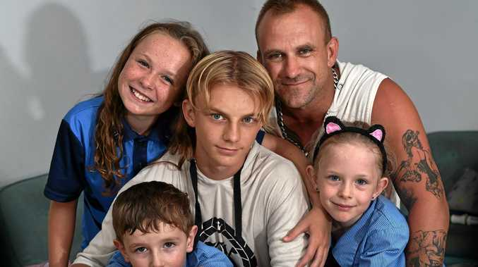 FAMILY: The Henricks family, Tasmin, 12, Tyler, 14, Mark, Montana, 8, and (front) Dominic, 5.