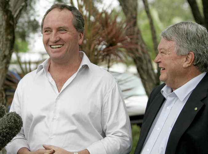 LESS STRESS: Senator Barnaby Joyce and Flynn MP Ken O'Dowd in Central Queensland during easier times.