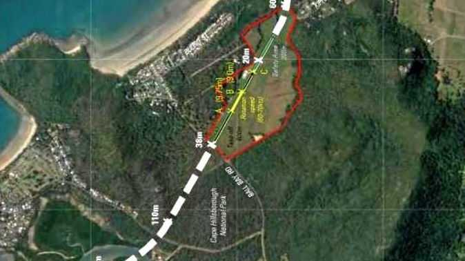 The agreed flight path between Mackay Regional Council and Ball Bay property owner Bob Smith.