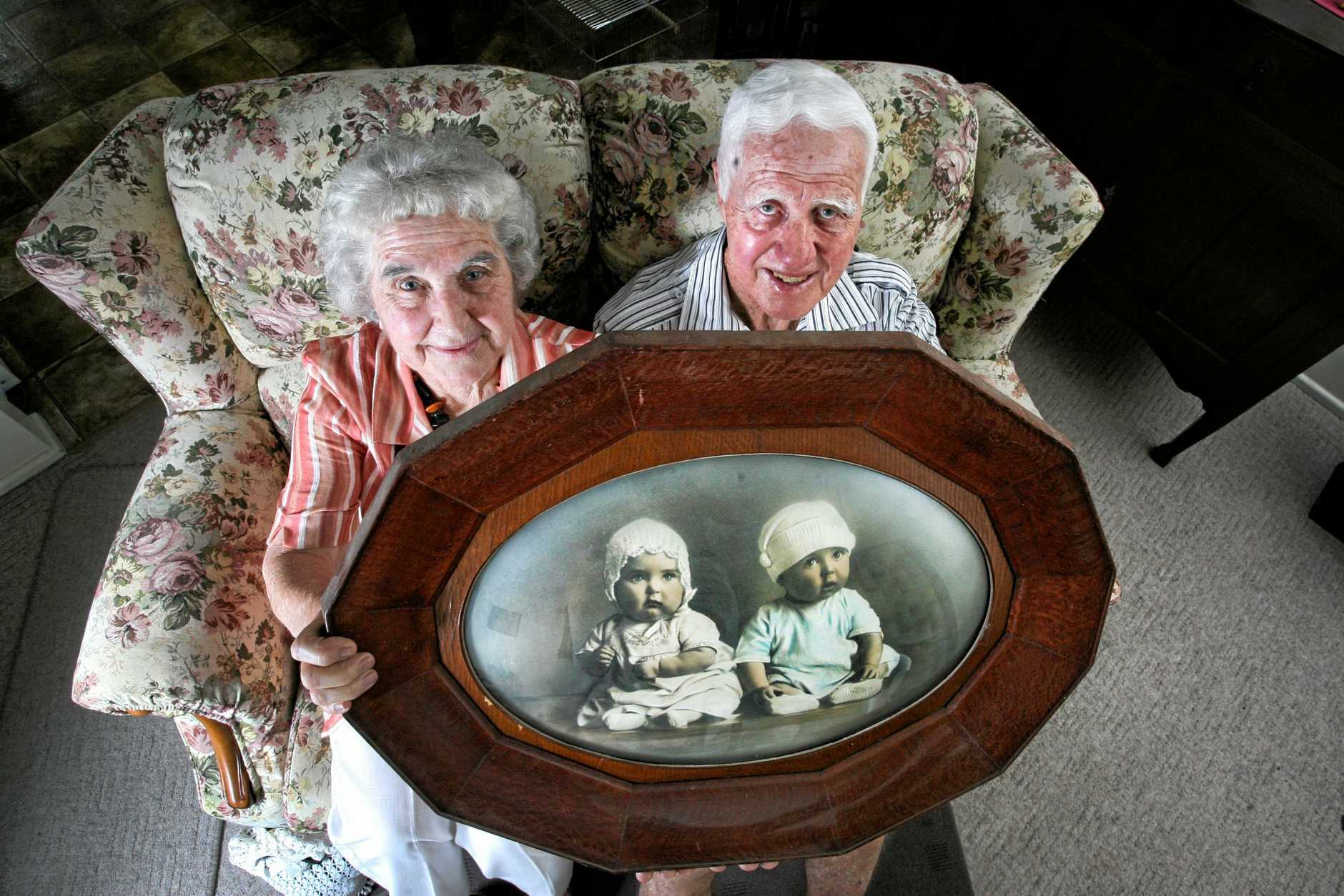 Shirley Skellern and Kevin Greisbach are Ipswich's oldest twins. Photo: Rob Williams (taken in 2007)