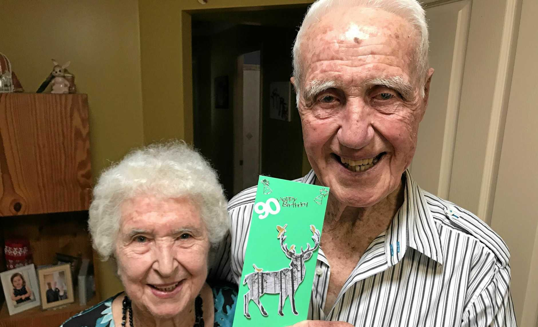 BEST MATES: Ipswich's oldest twins Kevin Greisbach and Shirley Skellern (nee Greisbach) will turn 90 on Friday.