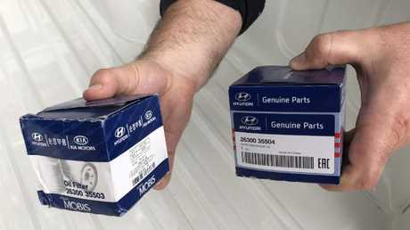 "One of these is a fake. Dealership executives say counterfeit and ""parallel"" parts would vanish overnight if the genuine items were cheaper and better reflected overseas prices. Photo: Supplied."