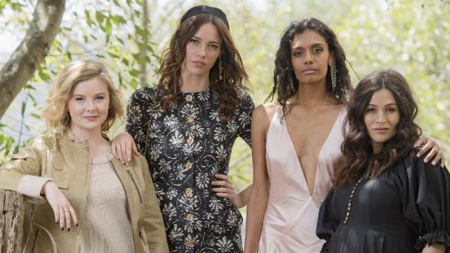 Ruby Rees (Edith Horton), Lily Sullivan (Miranda Reid), Madeleine Madden (Marion Quade) and Yael Stone (Dora Lumley) from Picnic at Hanging Rock. Picture: Jason Edwards