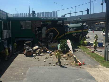 Emergency services at the scene of the crash on Bowen Bridge Road.
