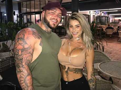 Benjamin 'Notorious' Geppert and his equally heavily tattooed glamour girlfriend Allaina just embarking on their eventful holiday.