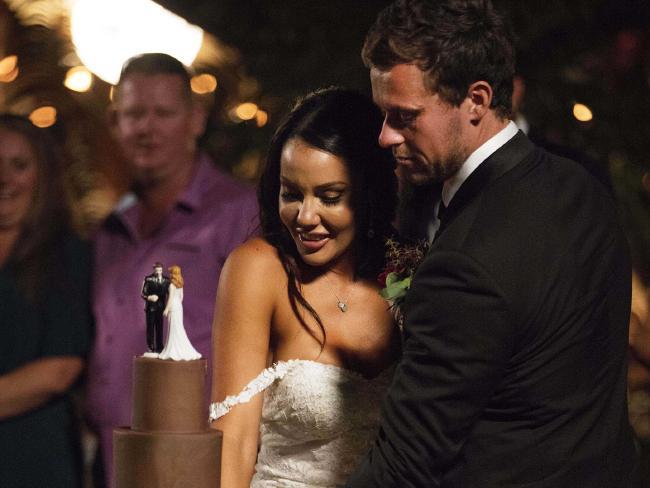 Davina and 'husband' Ryan at their wedding.