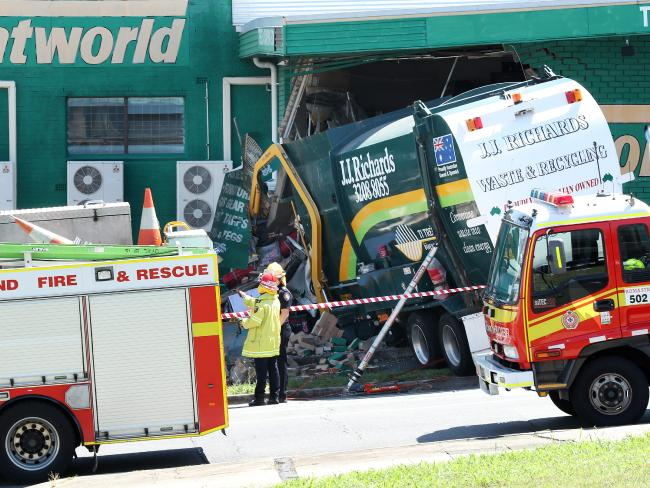 A rubbish truck crashed into Tentworld on the corner of Northey St and Lutwyche Rd, Windsor. Picture: Liam Kidston